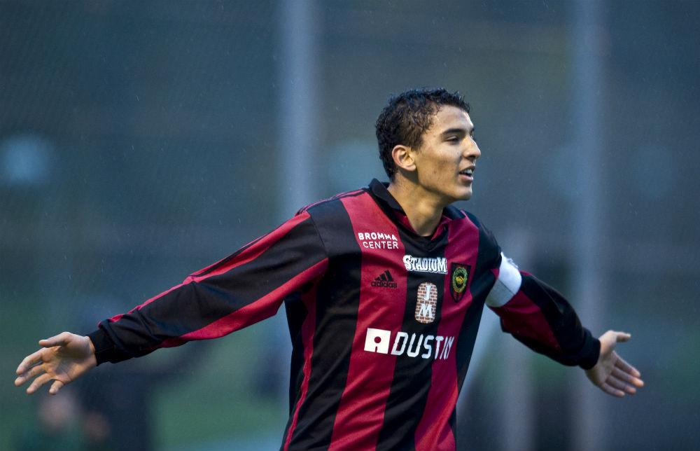 Oktober 2008. Nabil har precis gjort 3-0 för sitt Brommapojkarna i finalen i junior-SM mot Vasalund. Foto: BILDBYRÅN