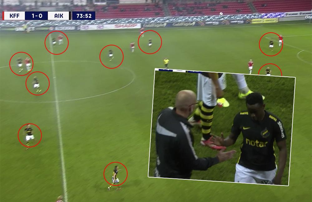 Bisarra bilderna – AIK hade tolv spelare på planen mot Kalmar